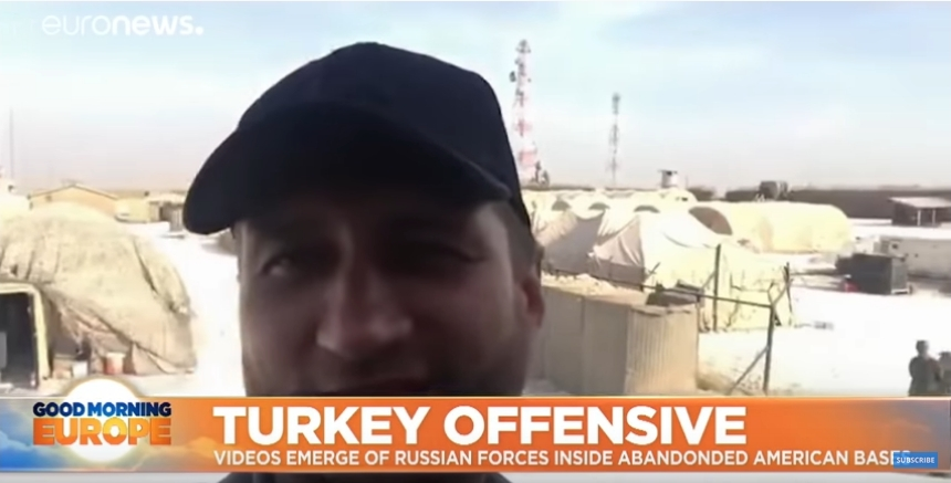 Russian journalist shows off former American base west of Manbij