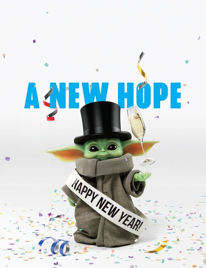 baby yoda wishes you a happy new year