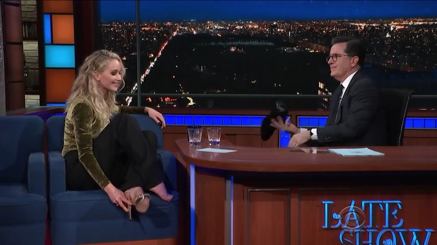 Jennifer Lawrence & Stephen Colbert on the Late Show 2-26-2018
