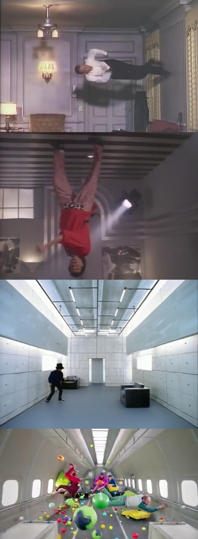 upside-down and moving music video sets
