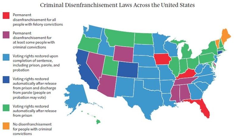 felony disenfranchisement by U.S. state 2018
