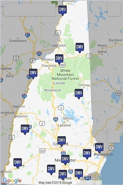 New Hampshire - Dept. Moter Vehicles map